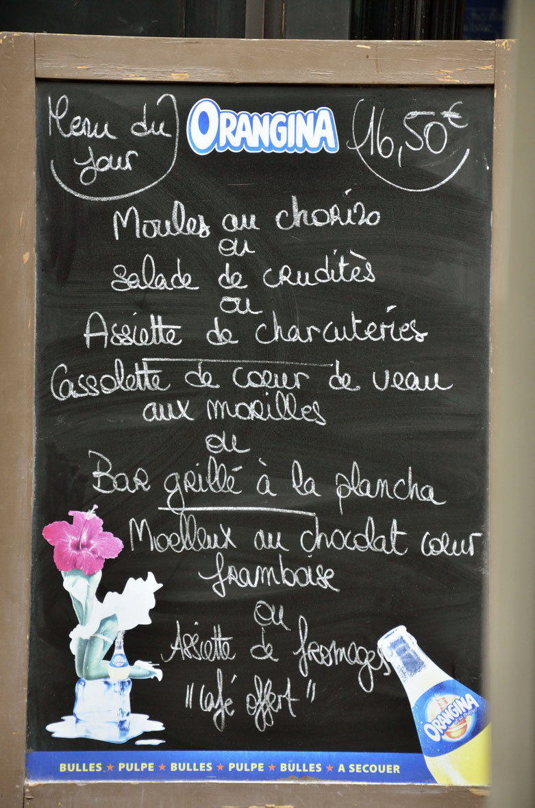 Lunch menu, Libourne city