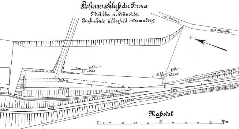 Nach alten Dokumenten neu erstellter Plan der vorübergehenden Gleisanschlußanlage.