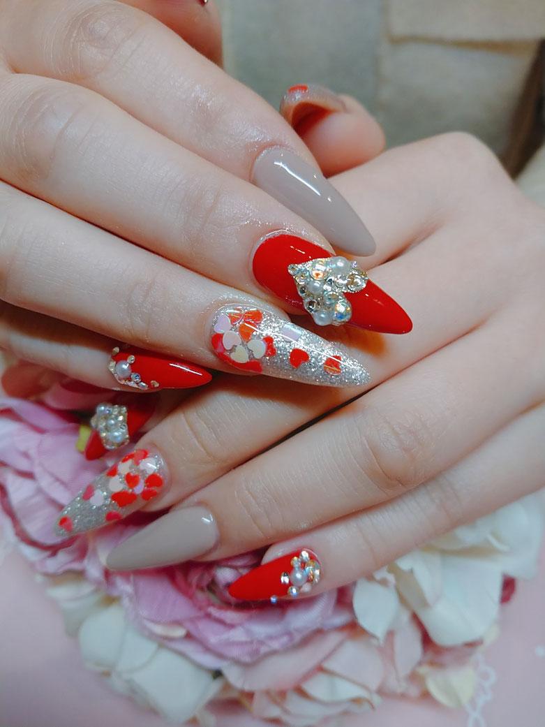 名古屋 金山 Salon Rhyme(サロンライム) バレンタインネイル