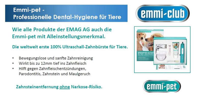 Emmi Pet die weltweit erste 100% Ultraschall Zahnbürste für Hunde und andere Haustiere.