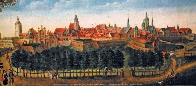 Blick auf Leipzig von Südosten, 1765, in der Mitte an der Stadtmauer die Moritzbastei