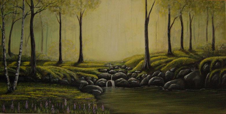 Acrylgemälde Wald Landschaft, Lost Forest 100x50x3,8cm