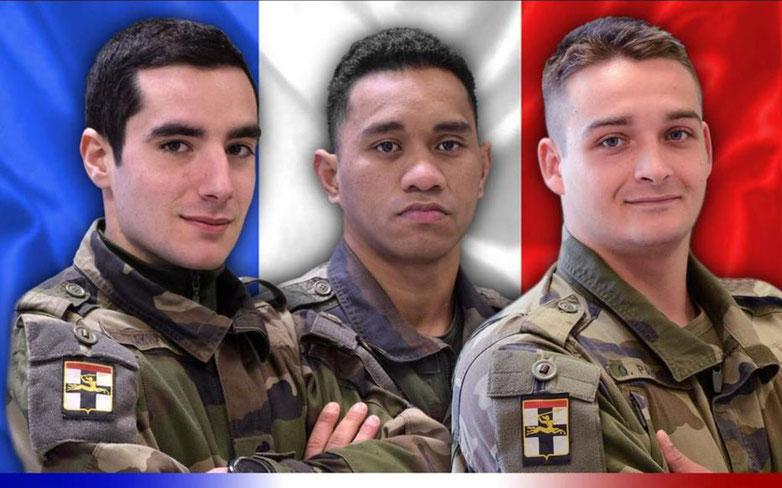 Le chasseur de 1re classe Dorian Issakhanian, le Brigadier-chef Tanerii MAURI et le chasseur de 1re classe Quentin Pauchet sont décédés en opération