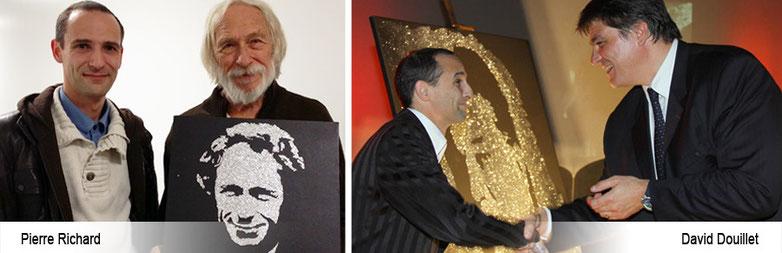 le peintre performer offre son portrait à l'acteur pierre richard et au judoka david douillet après le spectacle