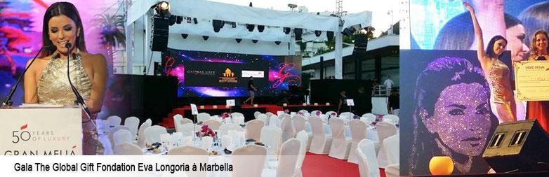 portrait glitter painting d'eva longoria lors du global gift gala à marbella - espagne