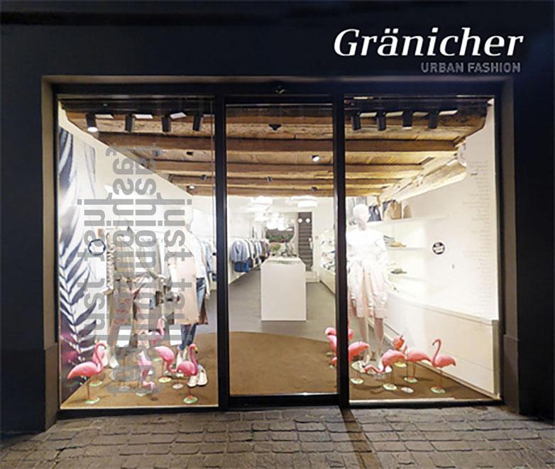 Eingang und Verkaufsfläche von Gränicher Luzern. Interior-Design, Styling, Kampagne, und Produktion von Polydual