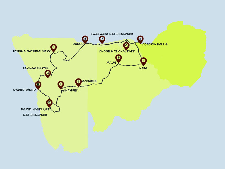 Karte, Reiseroute, Afrika, Namibia, Botswana