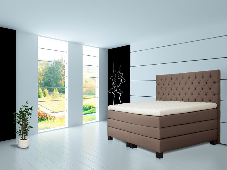 Boxspringbett mit Kopfteil in Chesterfield Optik
