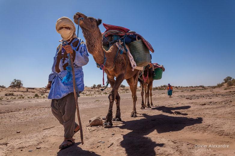 Nomade avec son dromadaire dans le désert