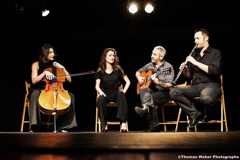 Raphaële Murer, Lara Phanalasy, Lucien Zerrad, Tosha Vukmirovic, violoncelliste, chanteuse, guitariste, clarinettiste, musiques du monde, volver events