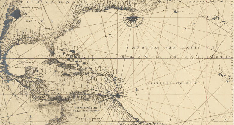 Extrait du fac similé photographique précoce (c. 1900) de la carte du monde de Nicolas Desliens de 1541, source : raremaps.com