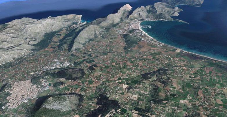Vista aérea de Pollença, Puerto Pollença, Cala Sant Vicenç y Formentor. Imagen de Google Maps.