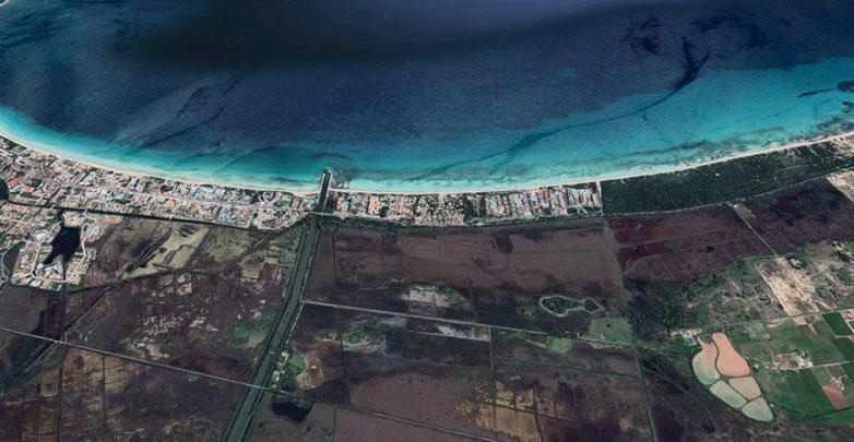 Vista aérea de la zona de Playa de Muro. Imagen de Google Maps.