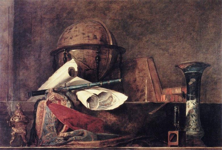 """Jean-Baptiste-Simeon Chardin, """"Gli attributi della scienza"""" (1731)"""