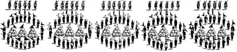 Ceux qui sont armés du sabre et du bouclier environnés par les pertuisaniers