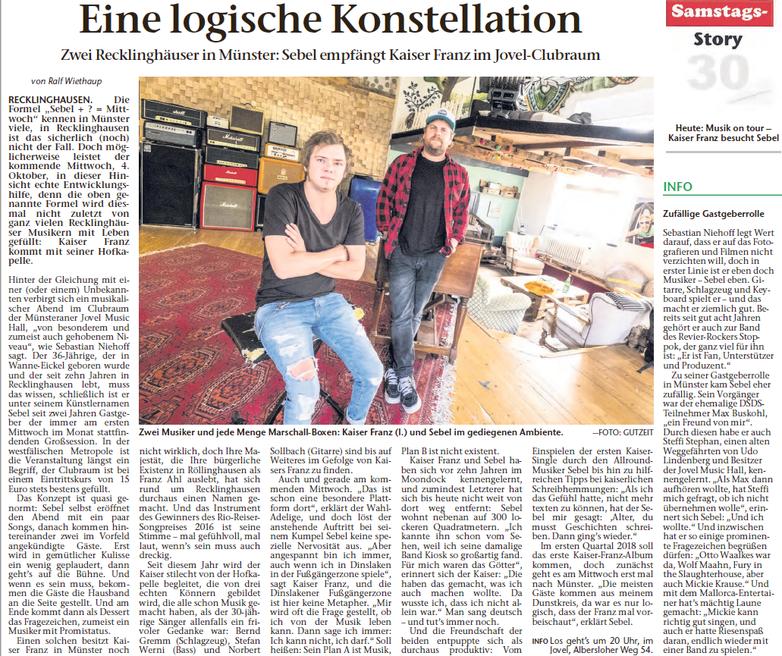 Recklinghäuser Zeitung, 30.09.2018 © Ralf Wiethaup, Foto: Jörg Gutzeit