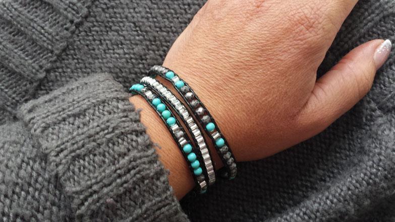 Bracelet manchette wrap ICEBERG 3 tours cuir et perles gris et turquoise, fait main en France, bohème, idée cadeau, multitours
