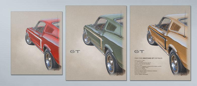 1968 Mustang GT drawing