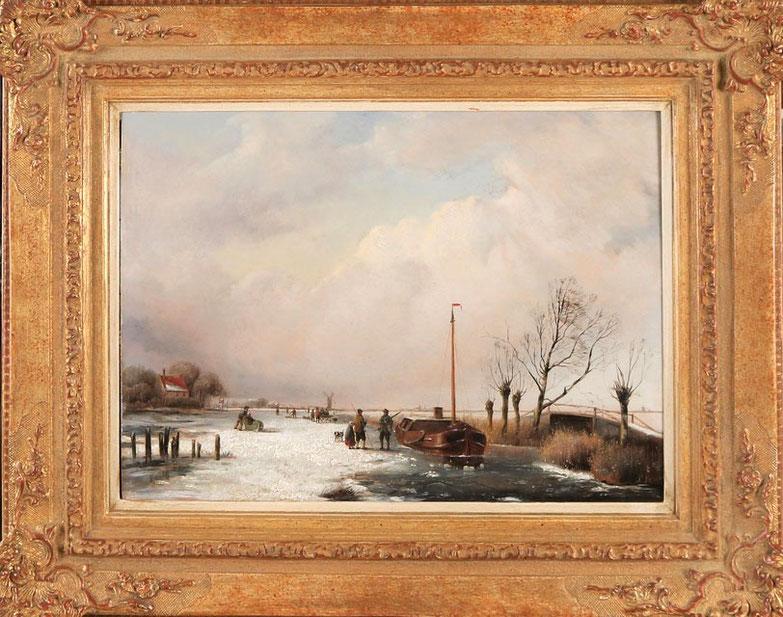 te_koop_aangeboden_een_schilderij_met_een_winter_landschap_van_de_kunstschilder_jacobus_freudenberg_1818-1873_hollandse_romantiek