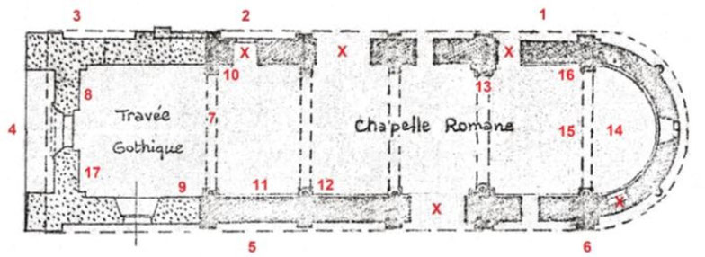 Plan de la chapelle de la commanderie d'Auzon
