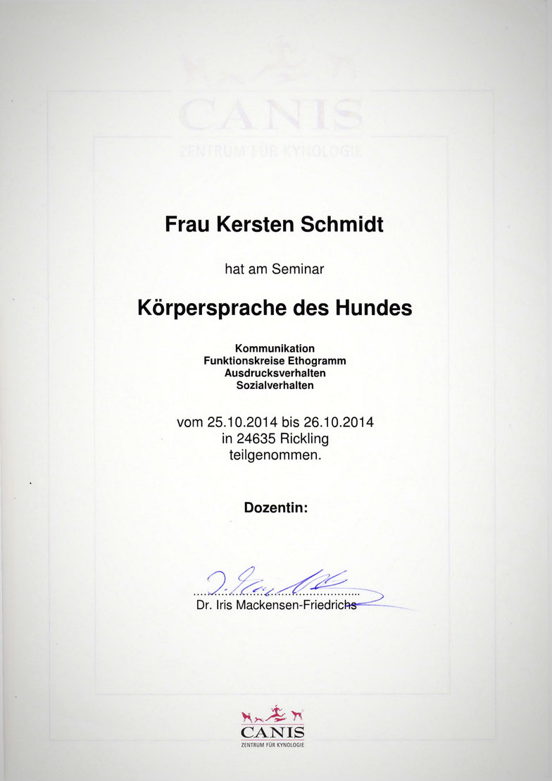 "Zertifikat des CANIS Zentrum für Kynologie ""Körpersprache des Hundes"""