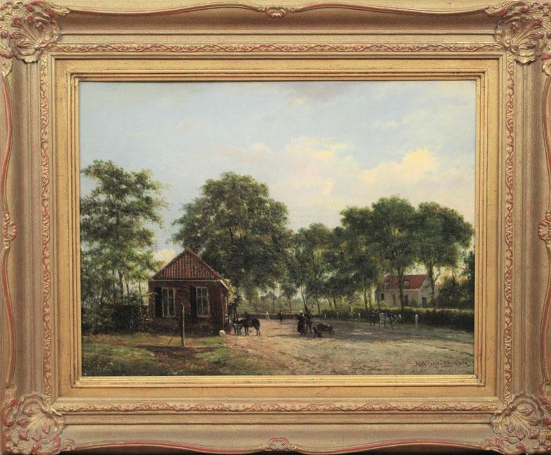 te_koop_aangeboden_een_schilderij_met_een_dorpstafereel_van_de_nederlandse_kunstschilder_alexander_hieronymus_bakhuijzen_II_1826-1878