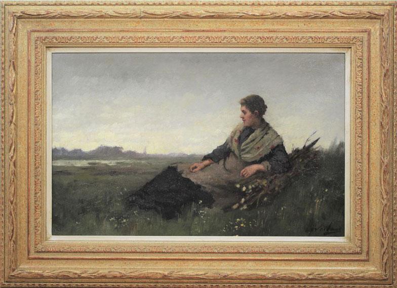 te_koop_aangeboden_een_genre_schilderij_van_de_kunstschilder_johannes_weiland_1856-1909_verwant_aan_de_haagse_school