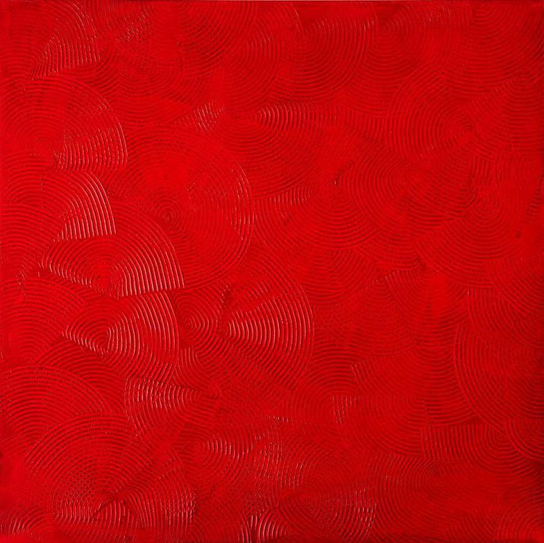Girandole rosse, 100x100, acrilico su tela, 2016