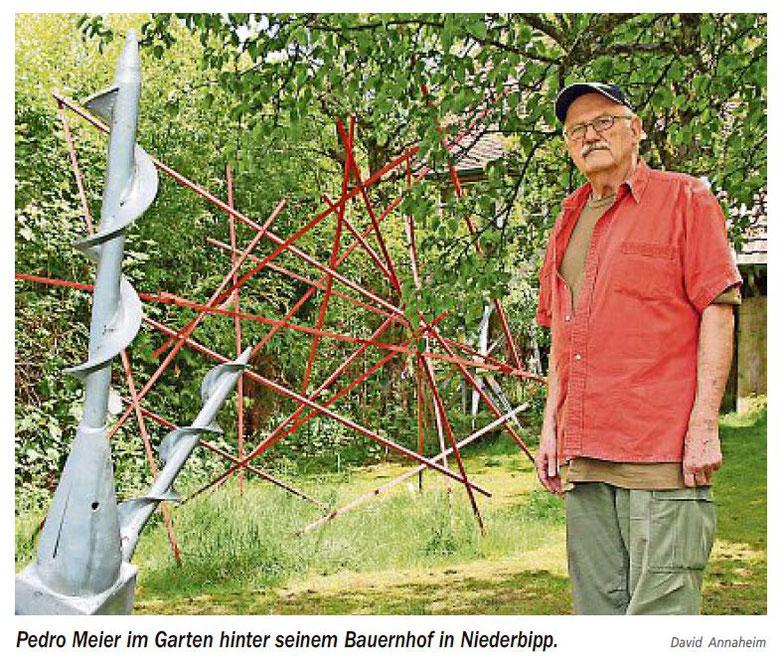 Pedro Meier – Atelier-Garten mit neuen Skulpturen – Niederbipp – Zeitungsartikel in »Neue Oberaargauer Zeitung« – 31. Mai 2017