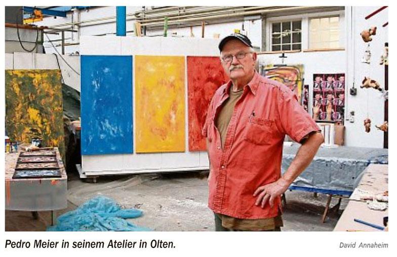 Pedro Meier – Atelier Olten – neue Bilder – aus Zeitungsartikel: »NEUE OLTNER ZEITUNG« – 31.5.2017