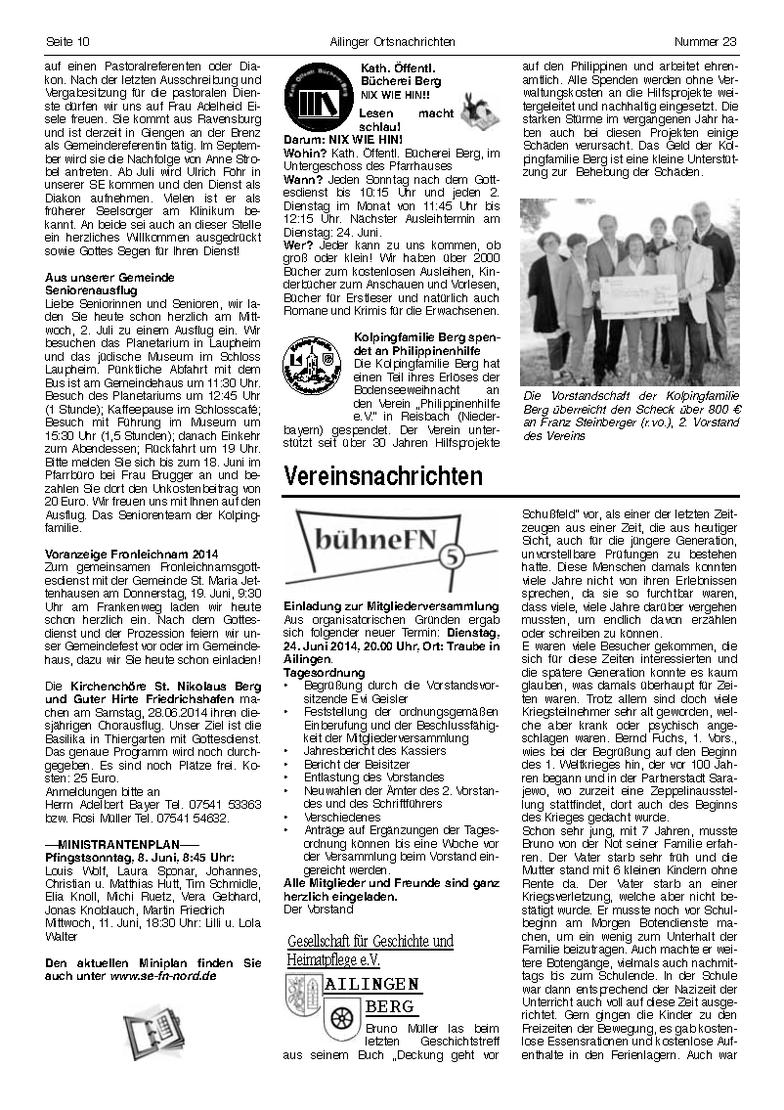 Ortsnachrichten vom 6. Juni 2014