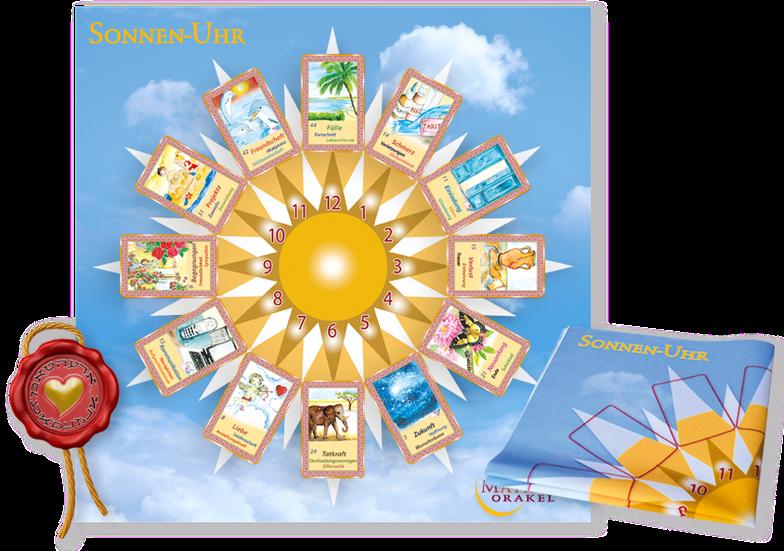 Sonnenuhr zum Kartenlegen mit Orakelkarten von Mathera