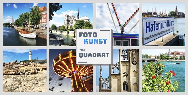 Fotokunst mit quadratischen Bildern auf Holz oder Stein