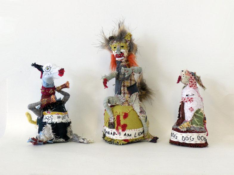 three textile pottery animals