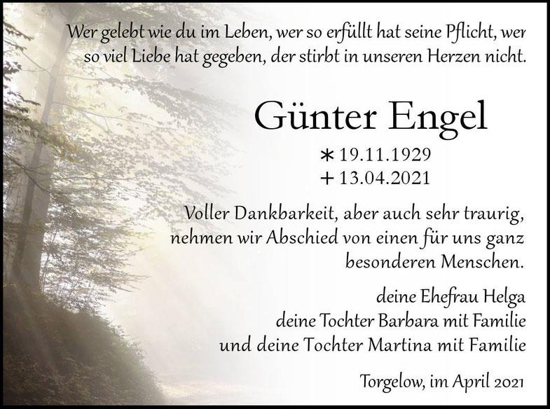 Traueranzeige Günter Engel, April 2021 Torgelow- Bestattungshaus Focke