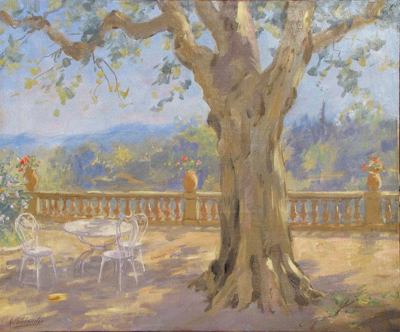 Tony Wahlander (Wåhlander) une terrasse en Provence avec un beau platane et ses géranium et table et chaises