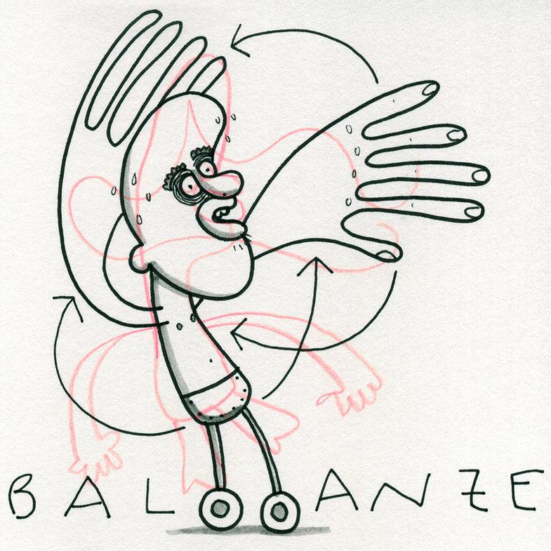 Illustration Ballance, Zeichnung mit Tusche auf Papier und digitaler Farbe von Frank Schulz Art, zeigt einen Mann auf Rädern