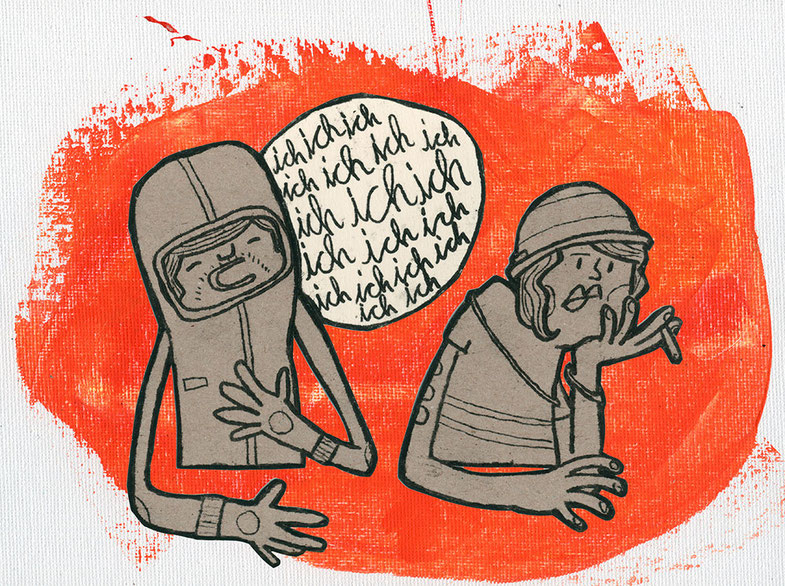 Zeichnung eines Mannes der eine Frau zutextet