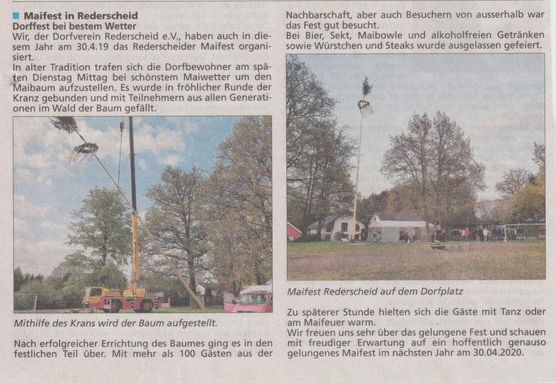 Bericht im Mitteilungsblatt der VG Asbach 17.5.2019