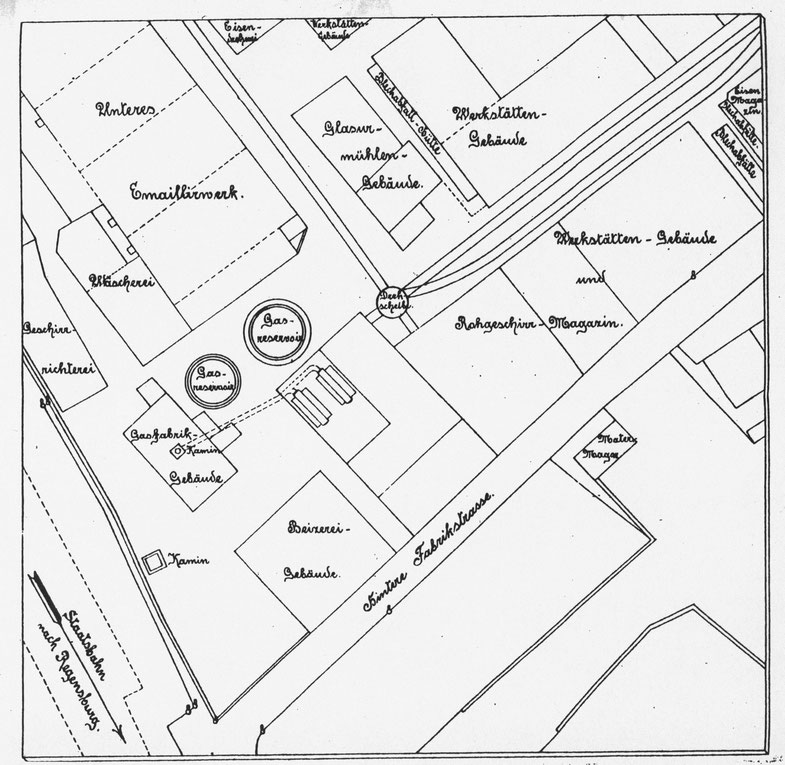 Ein beschrifteter Plan aus 1888 (Nord = rechts) [11]