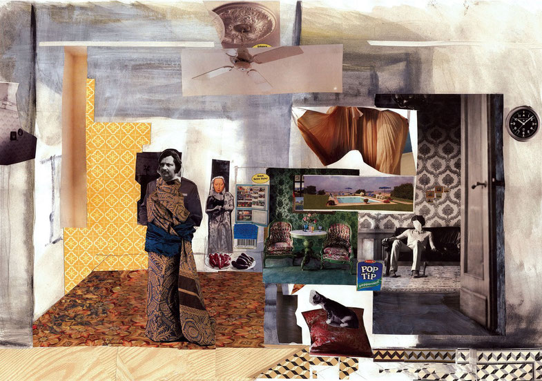 Balzac, 70x100cm, 2008, collage, acrylic, digital print on canvas