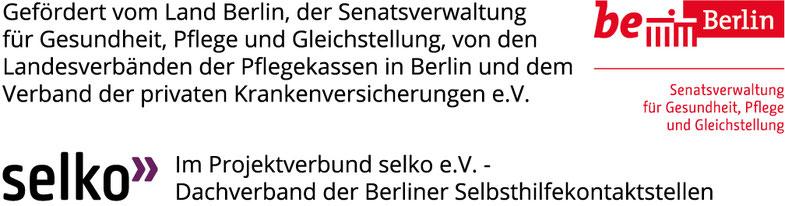 Förderlogos der Senatsverwaltung für Gesundheit, Pflege und Gleichstellung sowie dem Dachverband der Berliner Selbsthilfekontaktstellen SELKO