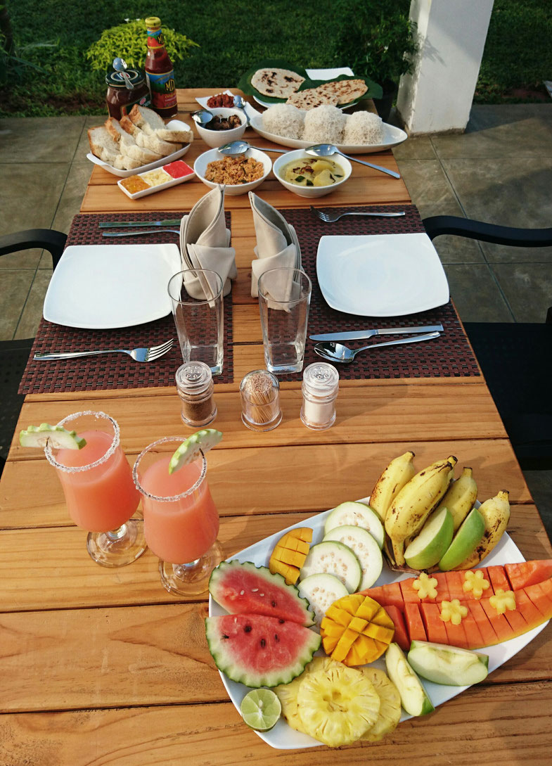 awesome breakfast at the 8+motel in Negombo - Travelbees