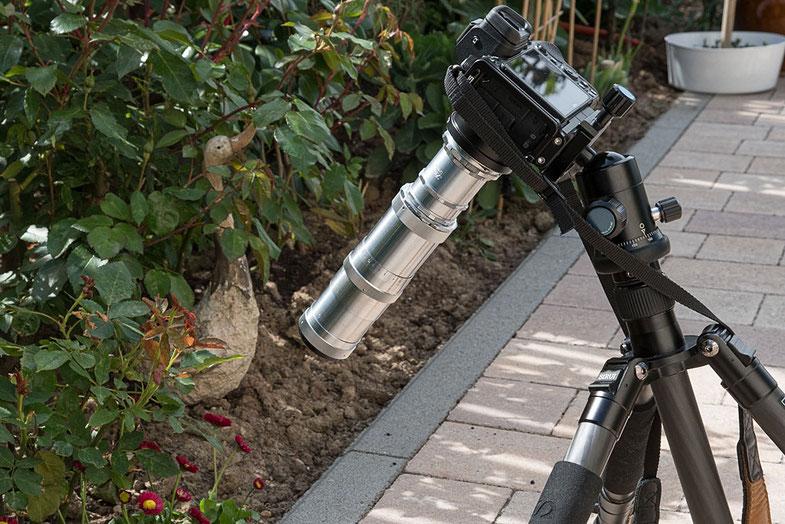 Alte Objektive an Digitalkameras: Makroaufbau Triotar 4/13,5 cm mit Exakta-Zwischenringset an Nikon Z7. Foto: bonnescape.de