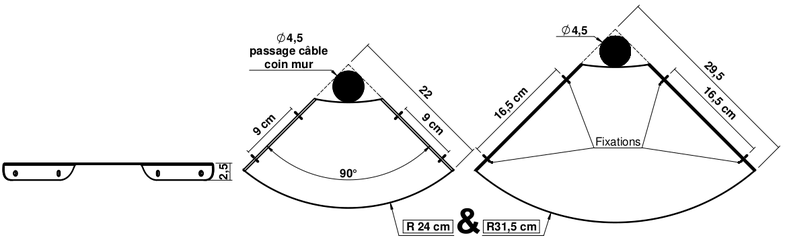Dimensions de la tablette d'angle Design RodYa.
