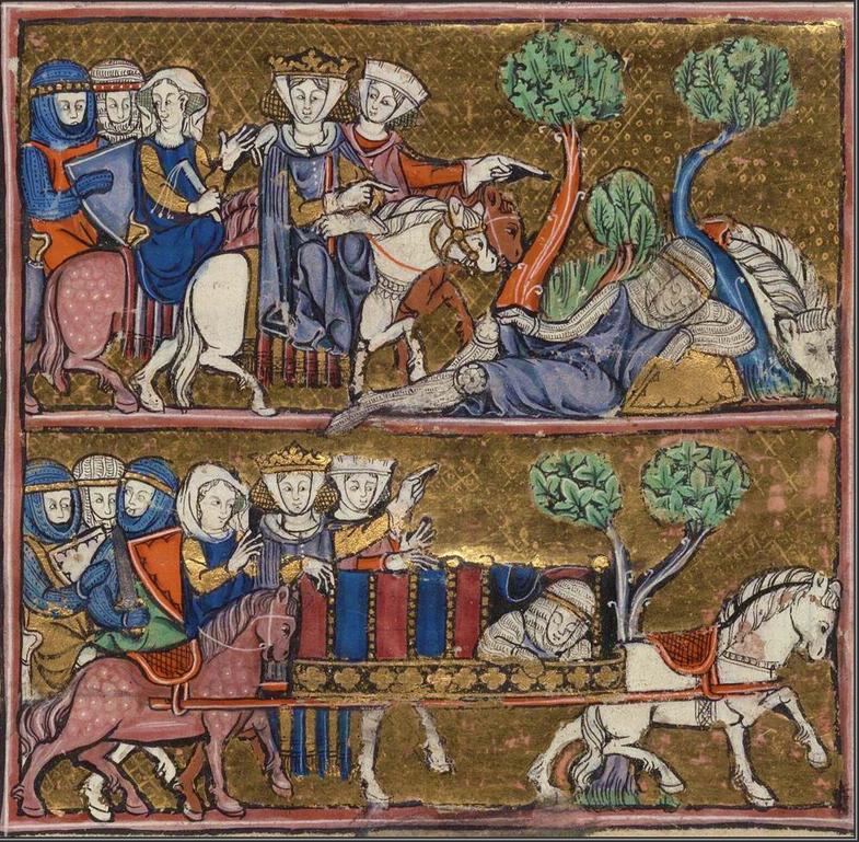 Fig. 7 - Roman d'Arthur, 1275-1300, France, Beinecke MS 229, fol 40v.