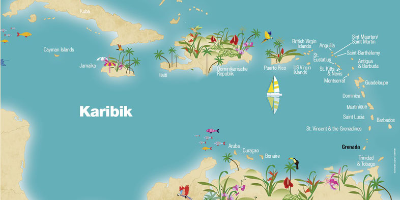 Landkarte, Grenada, Karibische Inseln, Karibik