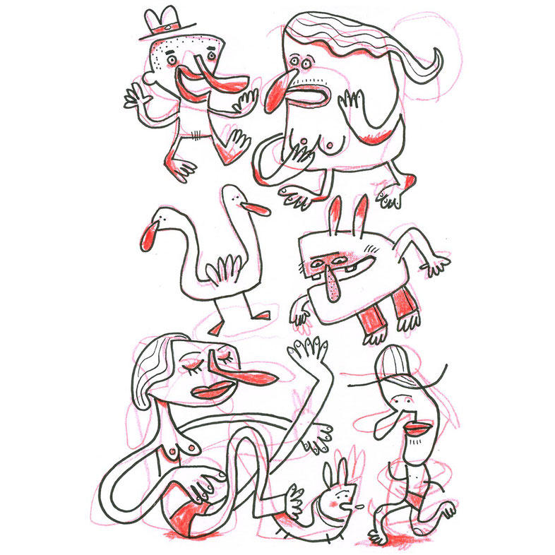 Skizze Gurkennasen, Zeichnung mit Tusche und Farbstift von Frank Schulz Art, zeigt Figuren und Tiere mit dicken roten Nasen