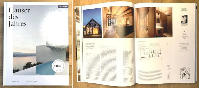 """Auszeichnung 50 Besten Häuser des Jahres 2019 """"Projekt Scheunenumbau, Redwitz"""",   Veröffentlichung im Buch """"Häuser des Jahres 2019"""", Callwey Verlag"""