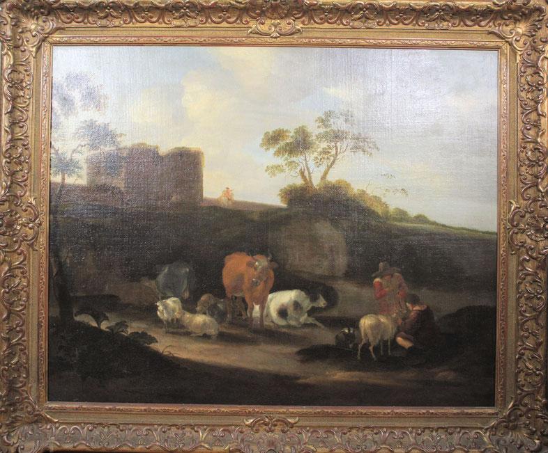 te_koop_aangeboden_een_landschaps_schilderij_met_vee_en_figuren_van_de_kunstschilder_dirck_van_bergen_1645-1699_oude_meesters